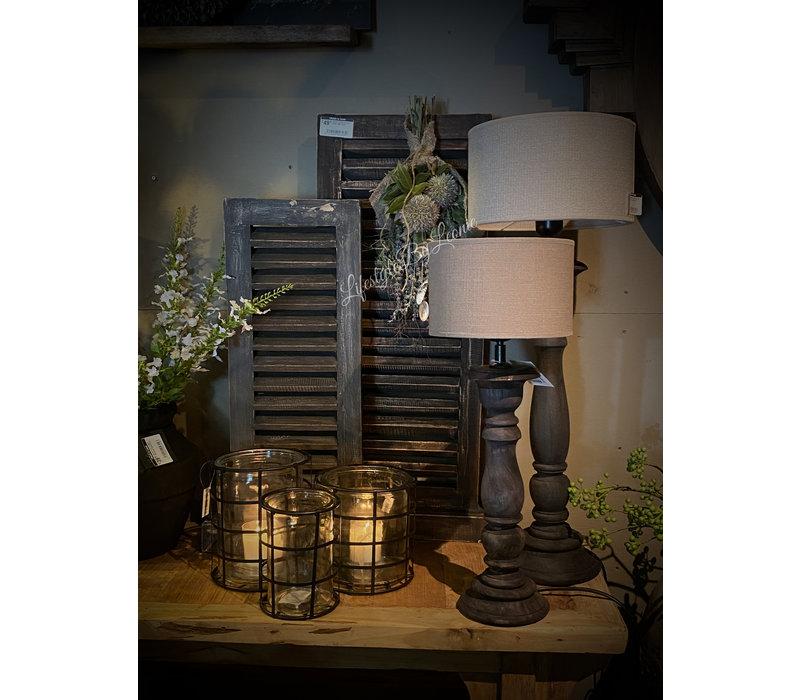 Glazen windlicht in metalen houder Blocks 16,5 cm