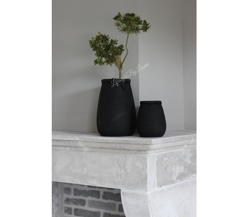 Ronde smalle hoge pot Black 14 cm
