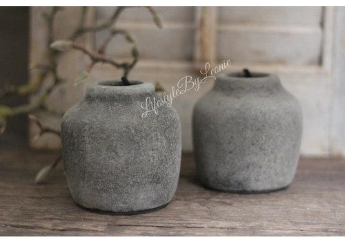 Klein stenen kruikje Classy Old grey 9cm
