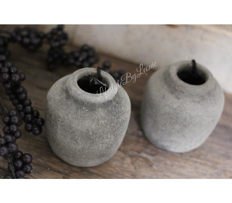 Klein stenen kruikje Classy old grey 9 cm