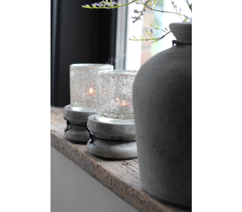 Stenen poer / kandelaar old grey 12 cm
