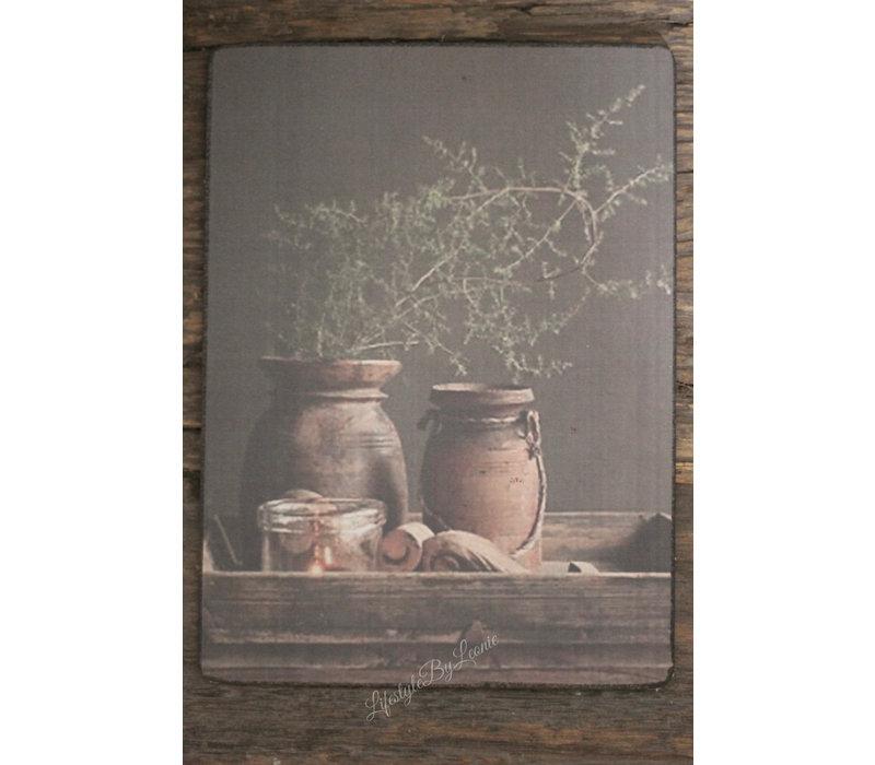 Deco bordje met kruiken en Asparagus 20 cm