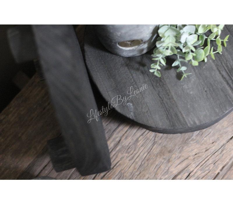Ronde zwarte onderzetter op pootjes 25 cm