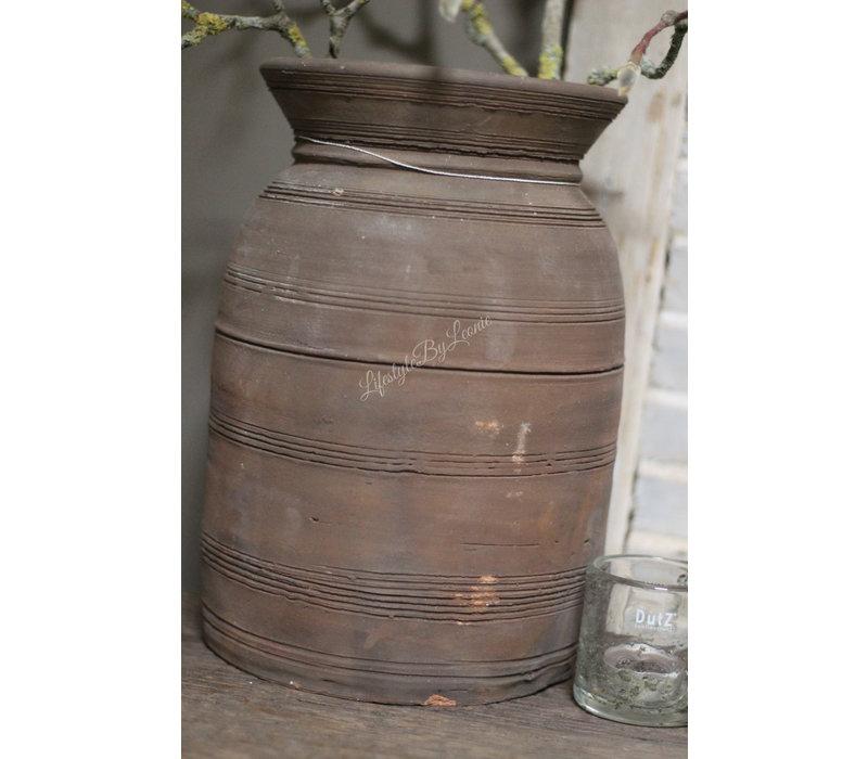 Stenen Nepalese waterkruik bruin 29 cm