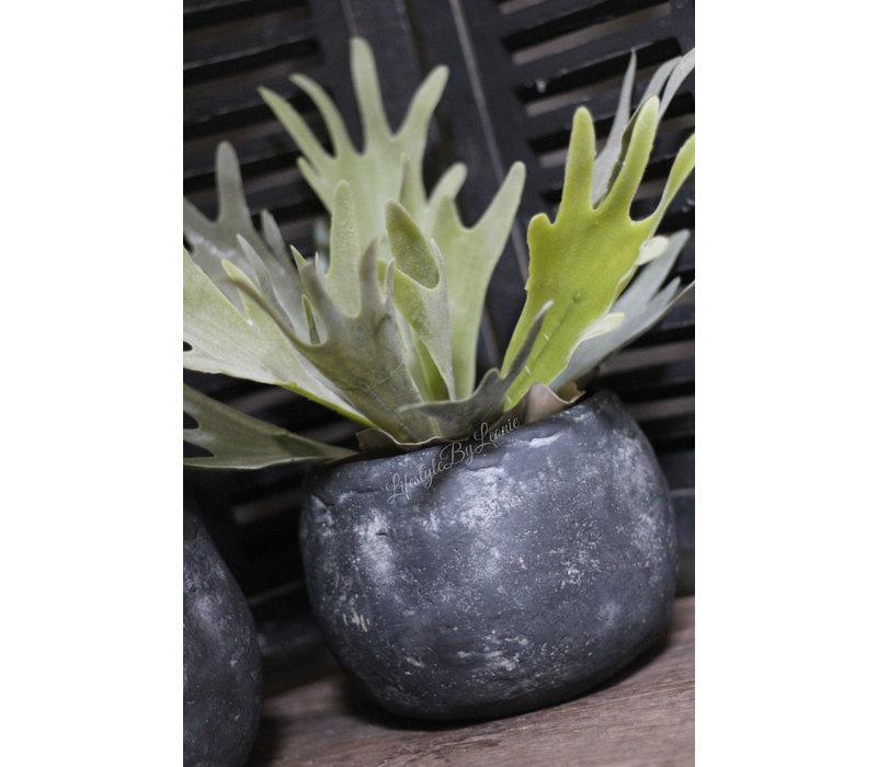 Zwarte stenen ronde pot 16 cm