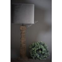 Velvet cilinder lampenkap Ovaal Zinc taupe 30 cm