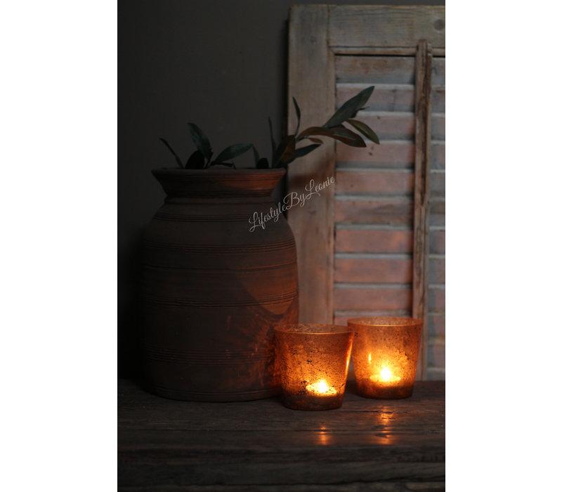 Glazen windlicht conic Old brown 10 cm