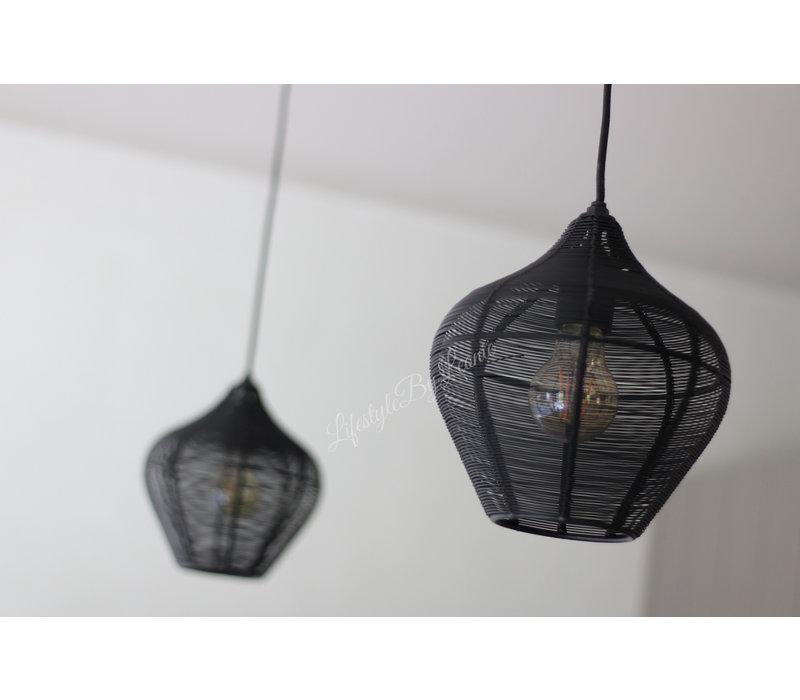 Zwart metalen hanglamp Elvi mat zwart 22 cm