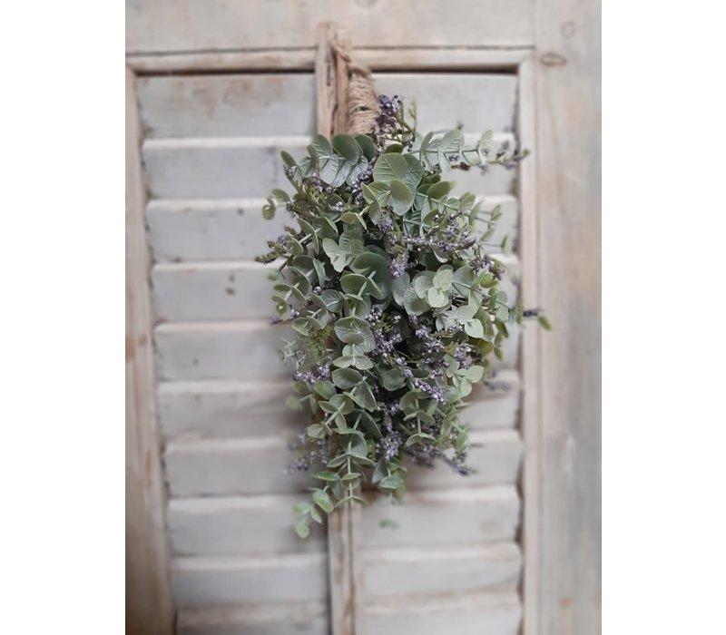 Zijden toef Eucalyptus en Limonium 25 cm