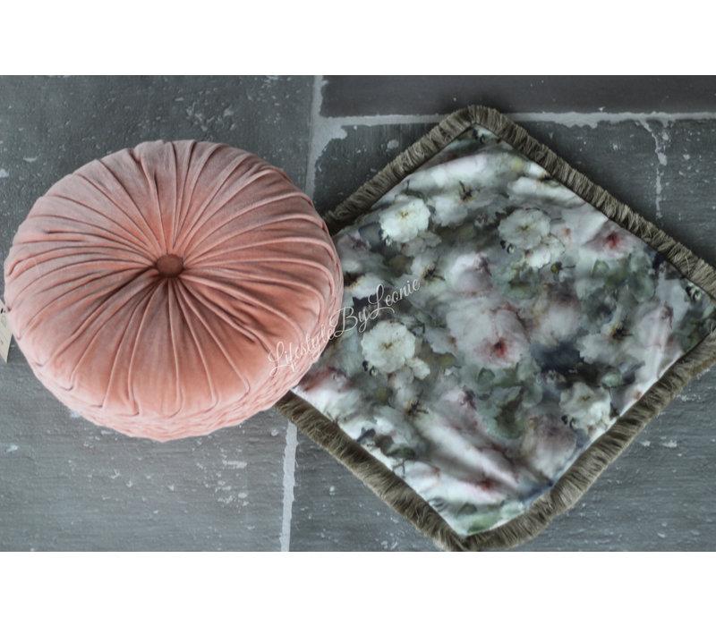 Velvet kussenhoes Pastel flowers 45 x 45 cm