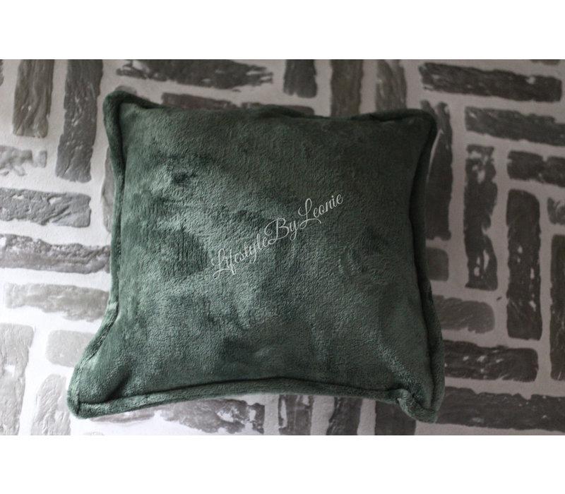 Fleece kussen forest green 45 cm