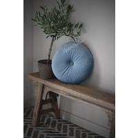 Rond velvet kussen Light blue 40 cm