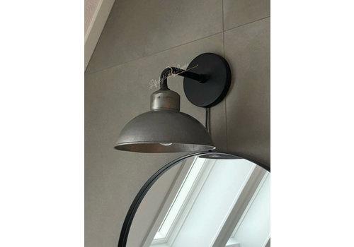 Sobere mat zwart/zinken wandlamp 25 cm