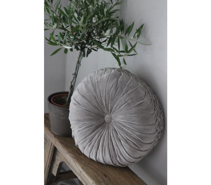 Rond velvet kussen Driftwood 40 cm