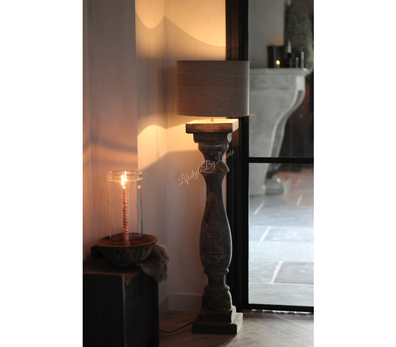 Dikke baluster lampvoet Greywash - maat XXL