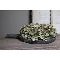 Zijden Hortensia krans sober green 30 cm