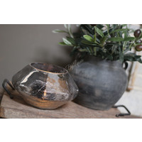 Grijze waxinelichthouder Old grey 17 cm