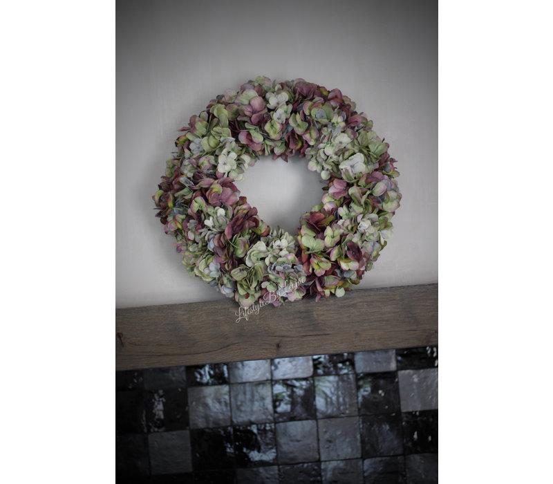 Zijden Hortensia krans sober purple 46 cm
