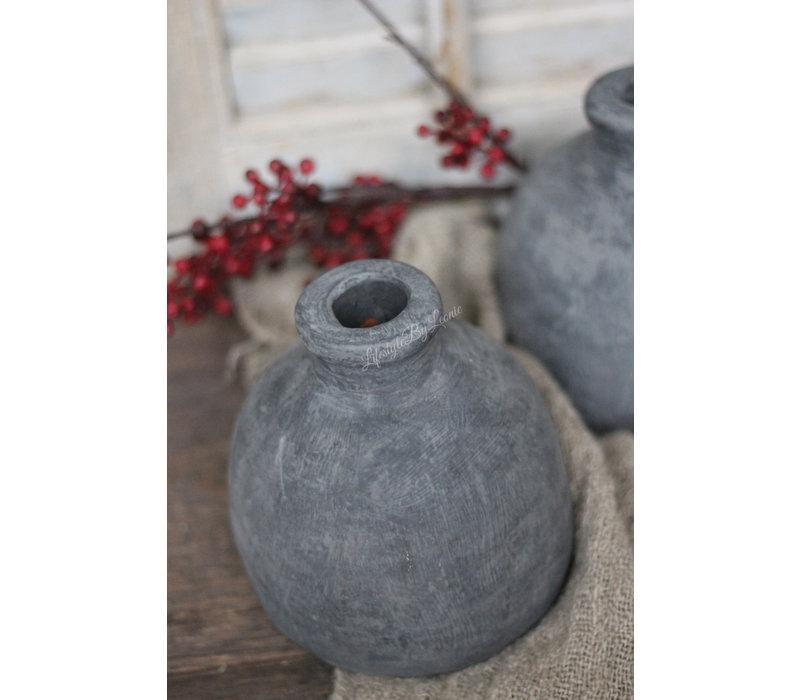 Stenen kruikje grijs Tony 17 cm