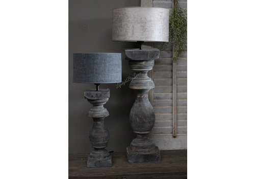 Houten baluster lampvoet Sober grey 70 cm