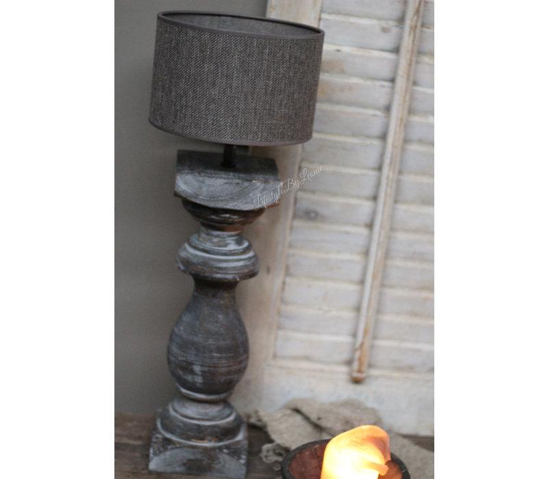 Cilinder lampenkap ruw linnen Brownie 20 cm