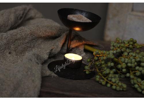Zwart metalen waxine brander voor geurblokje