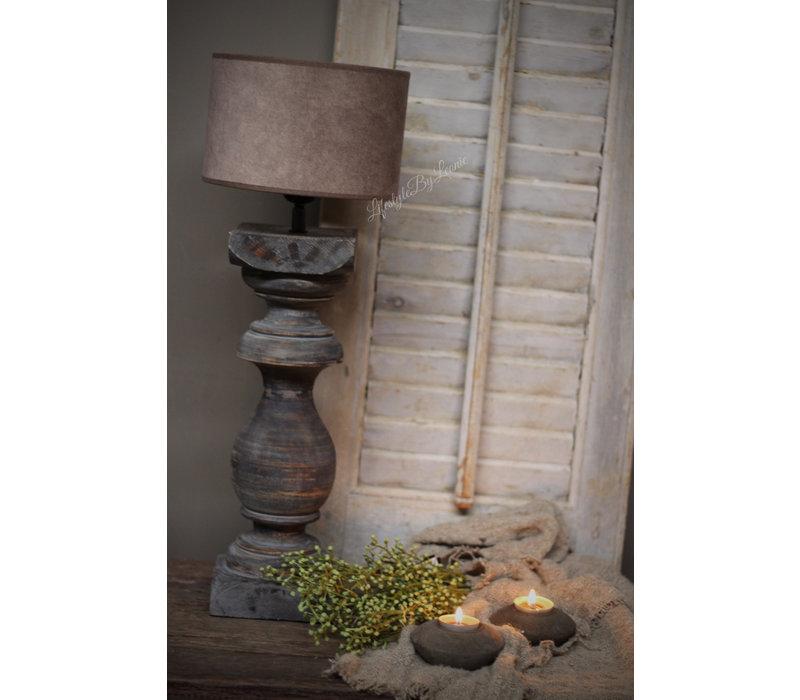 Velours cilinder lampenkap Dark klei 20 cm