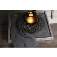 Houten plateau op voet Old grey wash 40 cm
