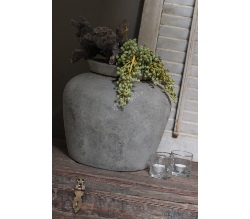 Stenen kruik Bas old grey 35 cm