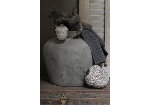 Glazen dennenappel ornament Old grey 12,5 cm
