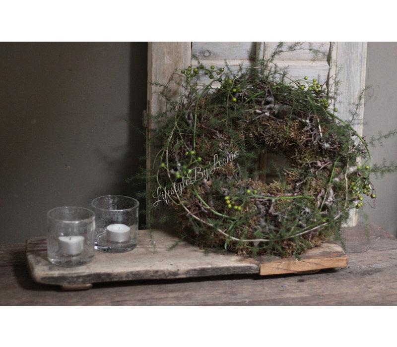 Moskrans met Bonsai, Asparagus en Rozenbottels 30 cm