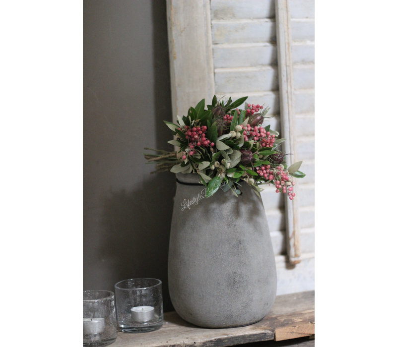 Ronde smalle hoge pot Old Grey 24 cm