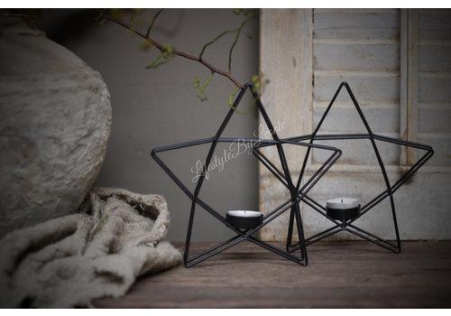 Metalen ster waxinelichthouder 20 cm