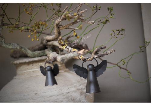 Zwarte metalen hanger engel 10,5 cm