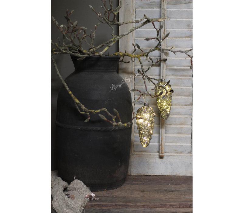 Glazen dennenappel hanger LED 17cm