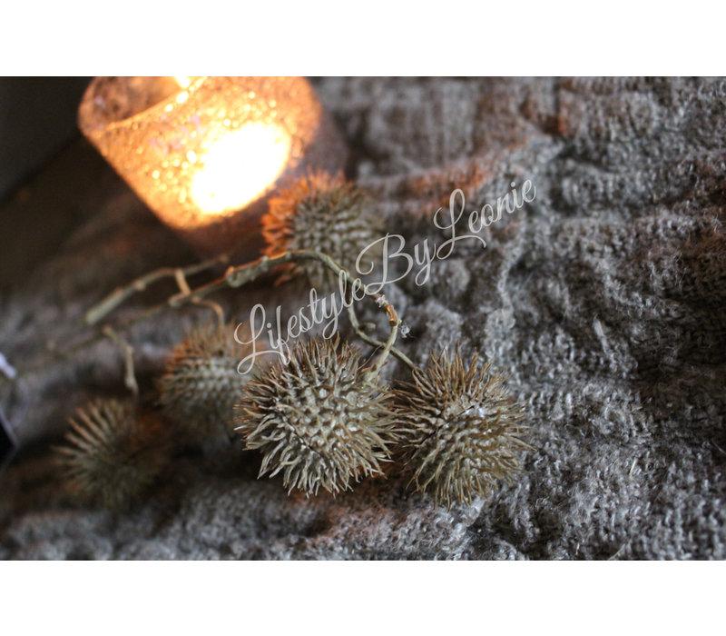 Zijden tak met plataanballen naturel 45cm