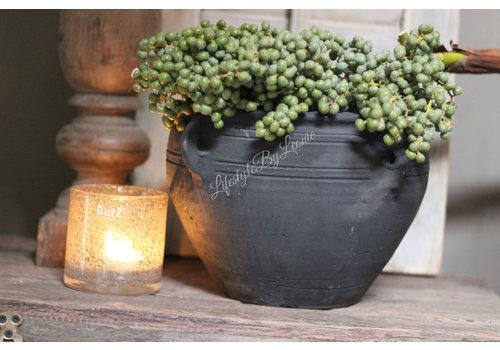 Zwart Chinees stenen kruikje met 4 oren 20 cm