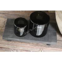 Zwart houten onderzetter 39 cm