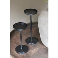 Zwart metalen kandelaar waxinelicht/stompkaars 17 cm