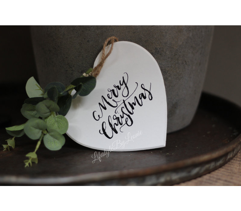 Houten hart hanger Merry Christmas