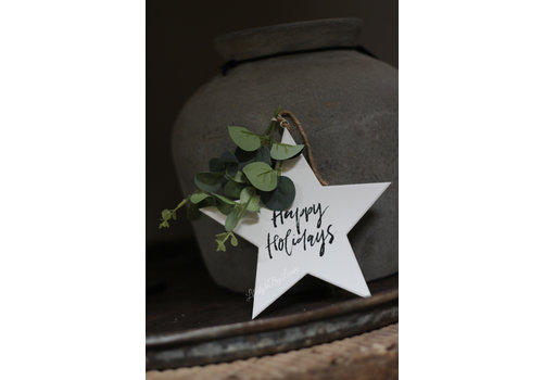 Houten ster hanger Happy Holidays