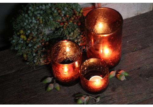 Cilinder windlicht Metall bubbels Cognac 11 cm
