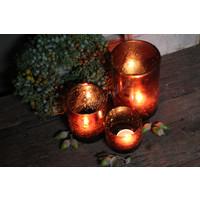 Cilinder windlicht Metall bubbels Cognac 15 cm