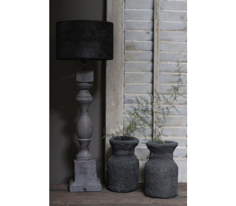 Zwart stenen Nepalees kruikje Rough