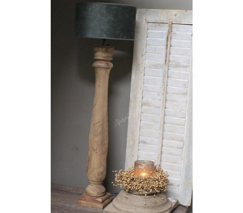Cilinder lampenkap velvet Old green 30 cm