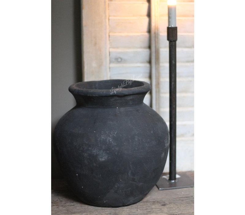 Zwarte aardewerk kruik Sober black 29 cm
