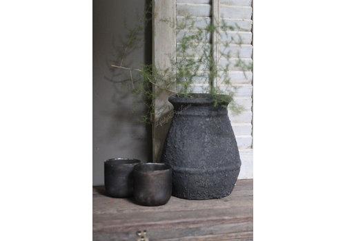 Zwarte aardewerk pot Rough 28 cm