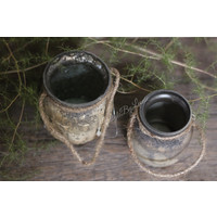 Waxinelichthouder potje met touw Old silver 9 cm