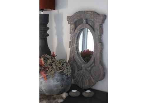 Houten ossenoog spiegel Os 63 cm