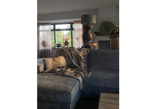 Namaak bont plaid Wolf brown 170 cm